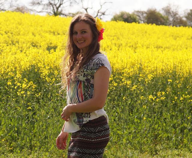 fashion blogger in yellow field in spring