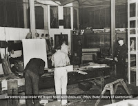 Carpentery shop inside Brisbane's Boggo Road Gaol, undated.