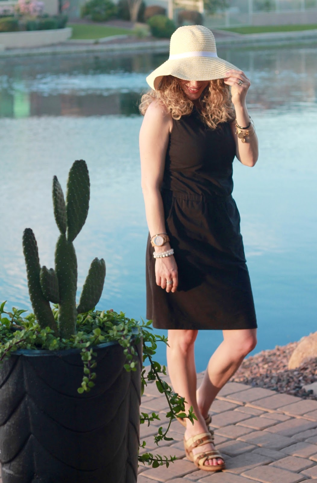 Aventura black avondale dress, black dress for travel, packable sun hat, wedges