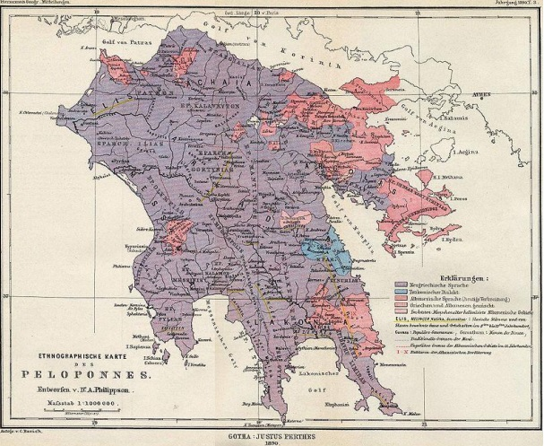 German ethnographic map of the Peloponnese, 1890. Albanian-speaking areas in red. [4]
