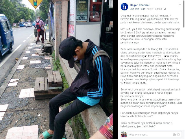 Yusuf Korban Perayaan Ulang Tahun NGAWUR, Butuh Biaya Rp 50 Juta untuk Cangkok Matanya