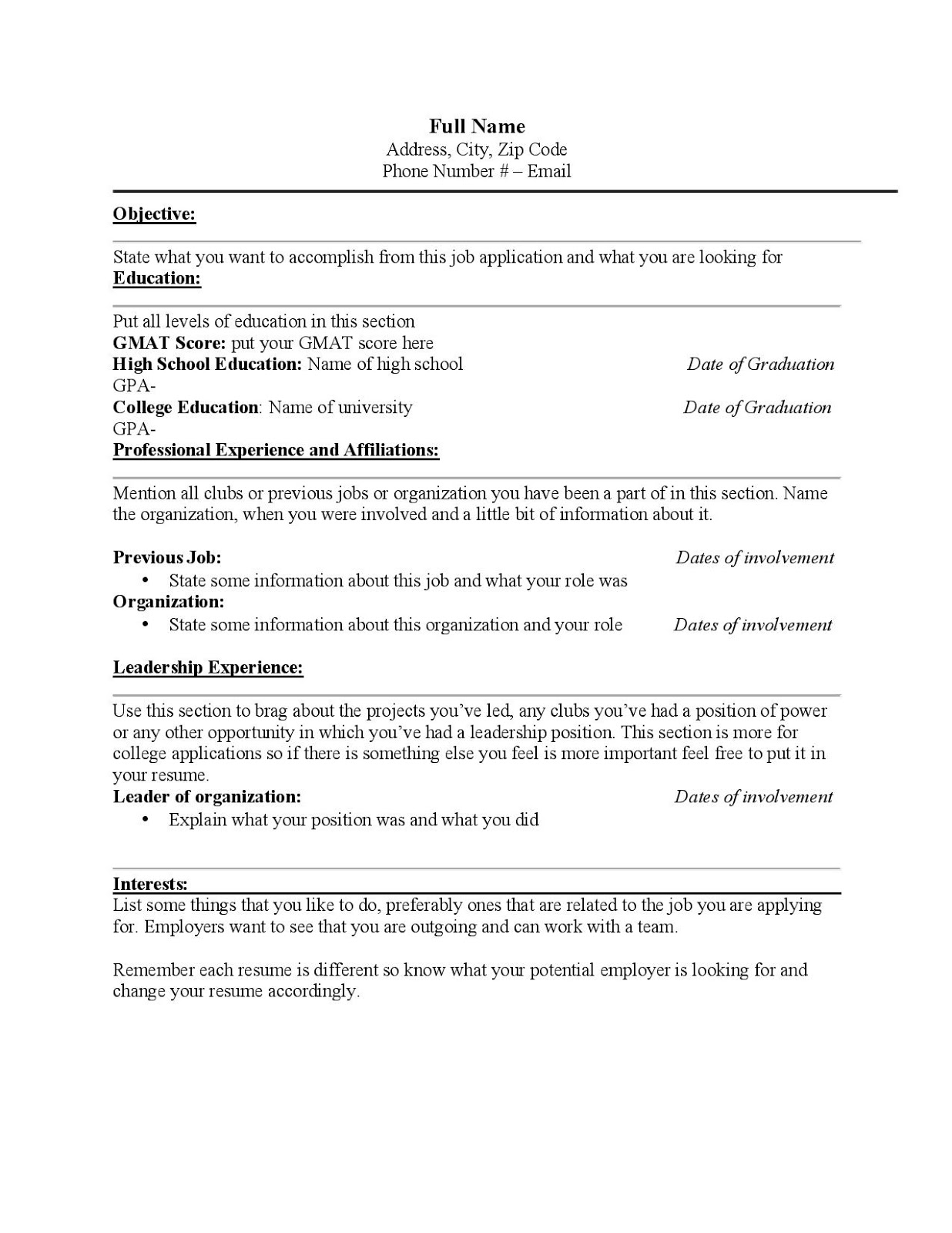 Main Differences Between A Job Resume And A University Resume  Things To Put In Your Resume