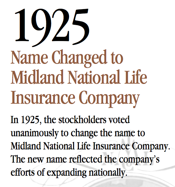 MIdland National Life 1925 name