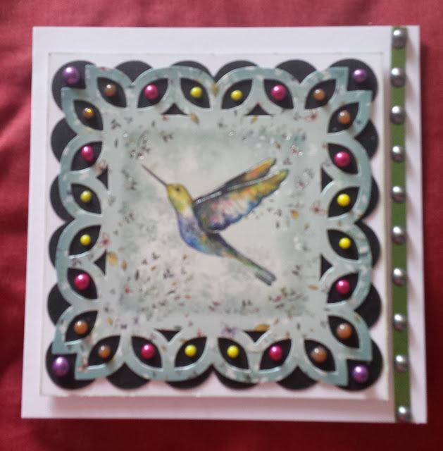 "Hummingbird in flight blank 7"" square card"