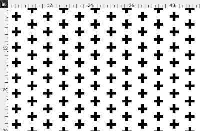 plus sign fabric by Spoonflower, black and white