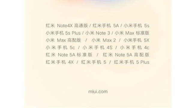 The list will get updates MIUI 10