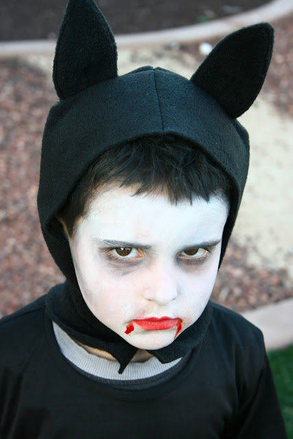 maquillaje  para disfraz de murciélago de niño