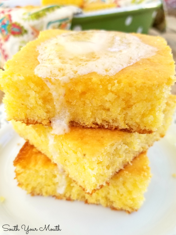 Spiffy Jiffy Cornbread | A spiffed up, semi-homemade recipe using Jiffy Cornbread mix, sour cream and real melted butter for a super moist and tender, absolutely perfect pan of cornbread.