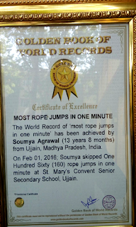 somya certificate of golden book of world records