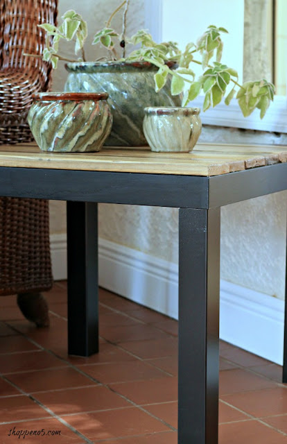 Upcycled table with rustic wood top eatured at Talk of the Town - KnickofTime.net
