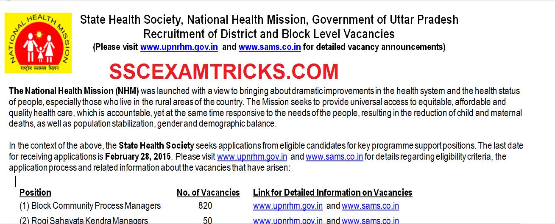 NRHM 2015 vacancies