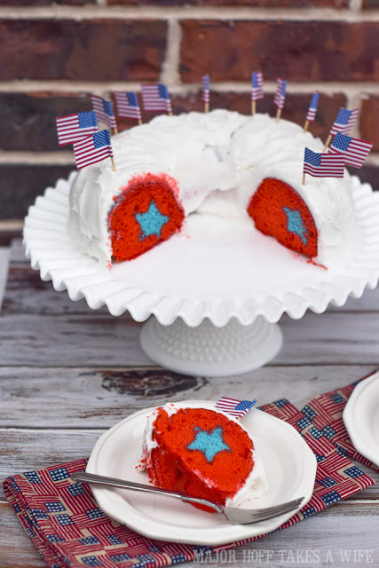 Patriotic Bundt Cake with Stars to celebrate Fourth of July or Memorial Day.