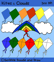 free clip art of kites and clouds for personal and commercial use