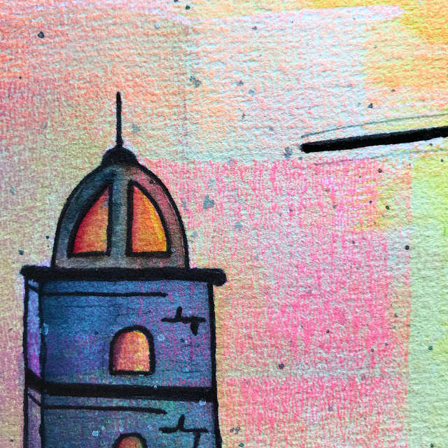 Alice Hendon, Sunset on the Harbor piece using schmincke watercolors on Hahnemühle Expression Cold Pressed watercolor paper