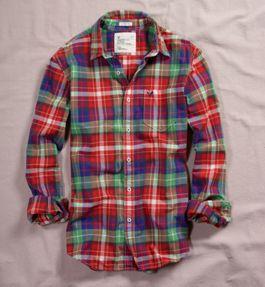 Men Fashion Dresses: Red Color AE Plaid Shirt - American ...
