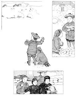winter snow snowball fight children vintage clipart illustration free