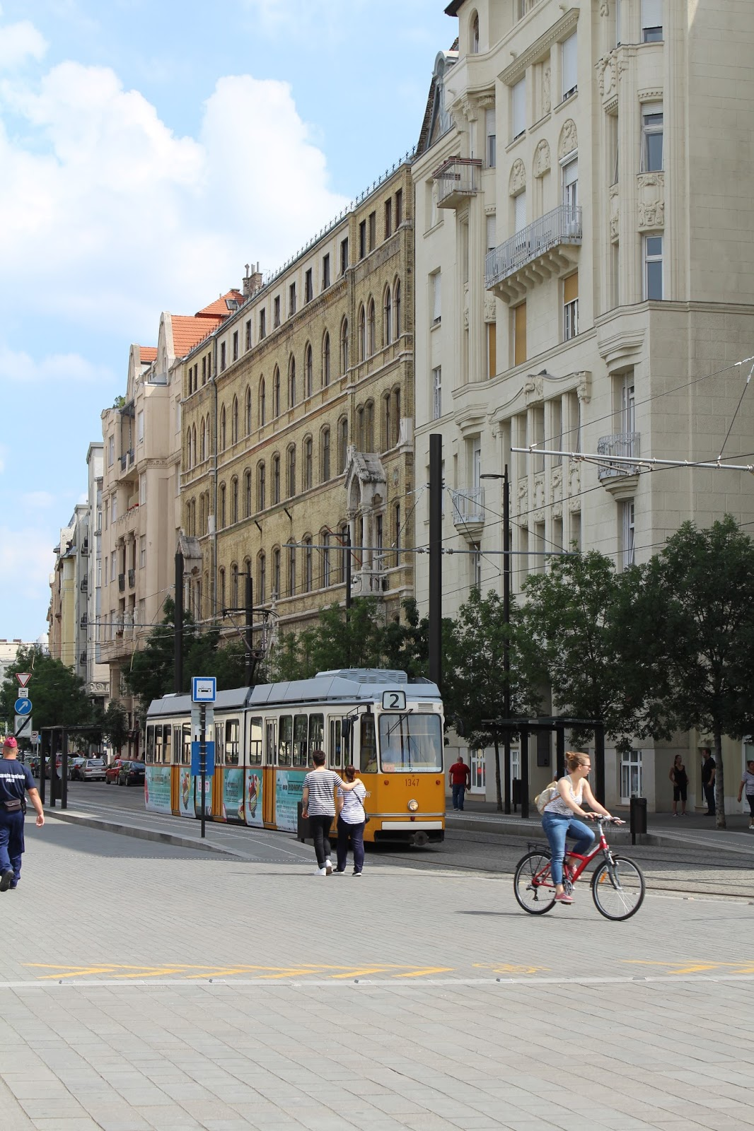 Tram and buildings in Budapest