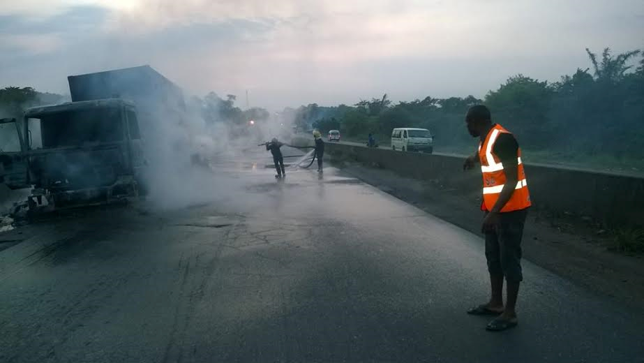 Photos Truck Burns On Ijebu Ode Ore Road