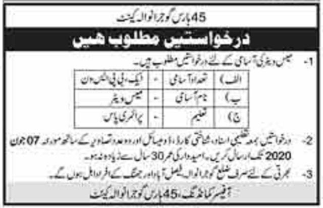 Pak Army 45 Horse regiment Jobs for Mess Waiter 2020