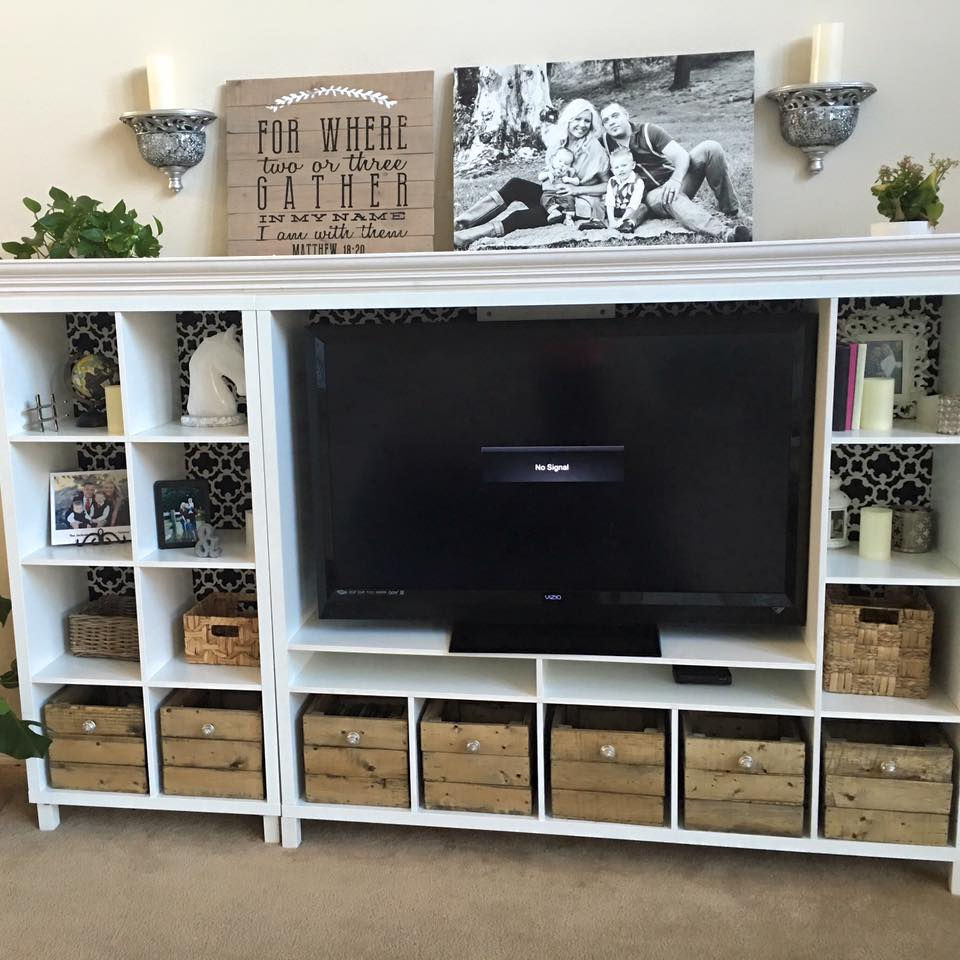 Sincerely stevie our diy entertainment center ikea hack for Ikea tv unit hack