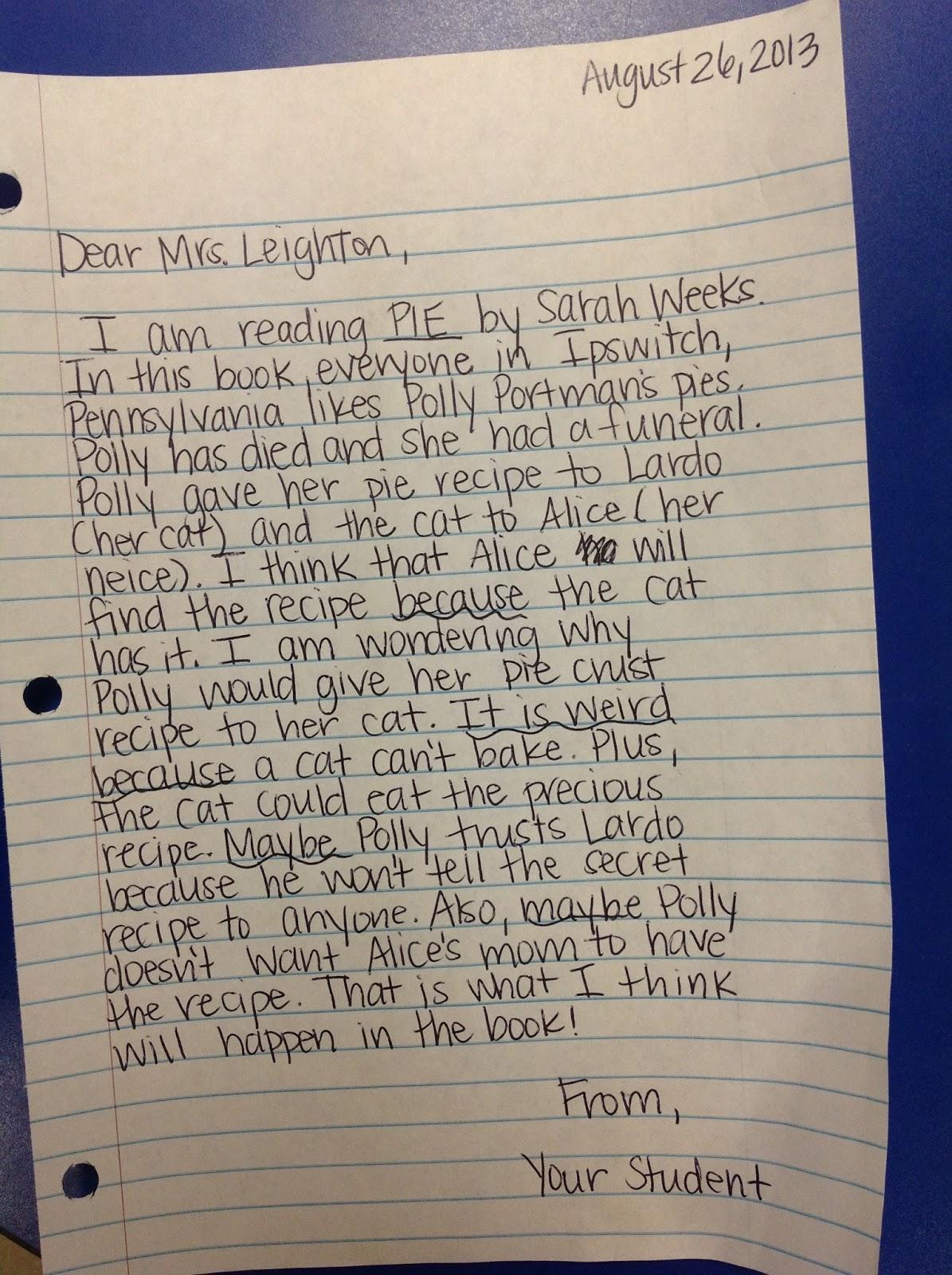 Mrs. Leighton's 4th Grade : Homework: Reading Response Letters ...
