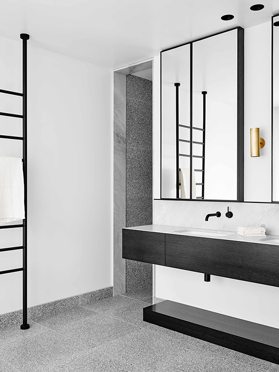 Contemporary black and white bathroom via Flack Studio
