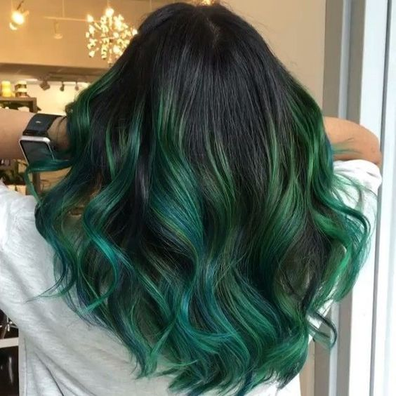 Green Ombre Hair Color For Black Women