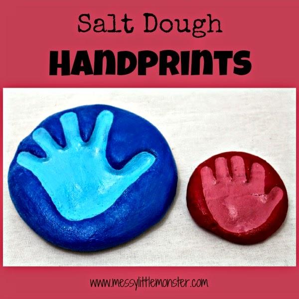 Salt dough handprint keepsake - salt dough craft ideas for kids