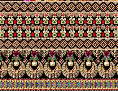 Digital border design for textile 697