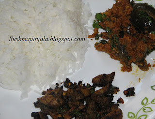 Kantola fry and brinjal curry