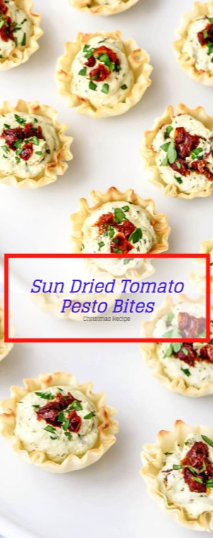 Sun Dried Tomato Pesto Bites #christmas #appetizer