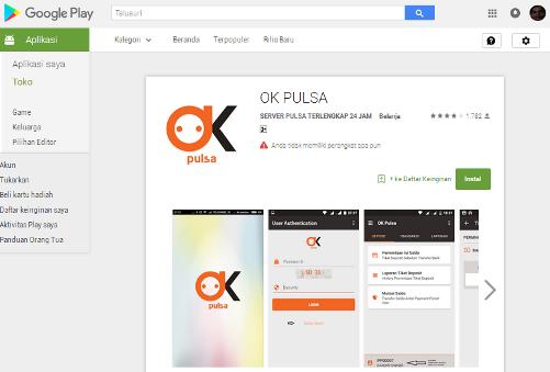 Screenshot OK Pulsa Aplikasi Pembayaran Tercepat di Indonesia
