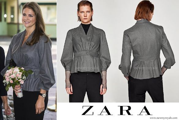 Princess Madeleine wore ZARA wrap overshirt with button