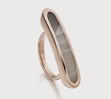 Monica VInader Rose Gold Grey Agate Gemstone Baja Ring
