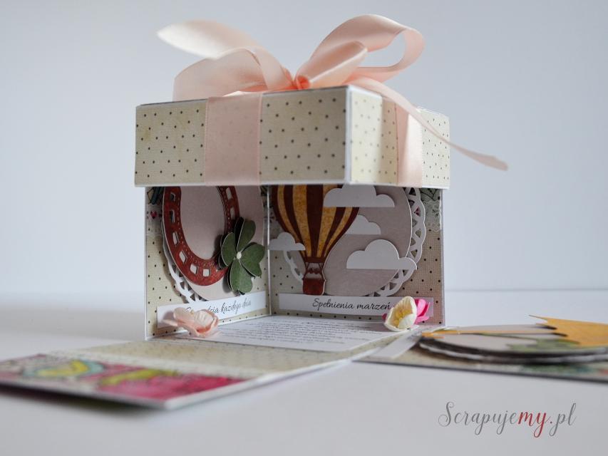 kartka pudełko, rozpadające pudełko z życzeniami, box imieninowy, box urodzinowy, eksploding box, kolorowy exploding box, różowy exploding box, kolorowa kartka jak pudełko