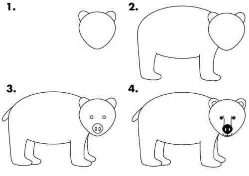 رسم دب للاطفال