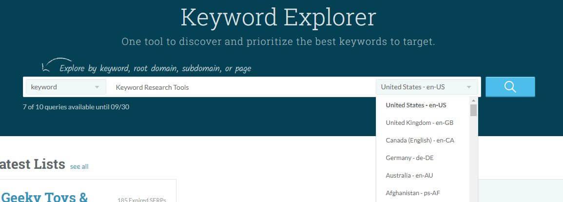 Moz keyword research tools