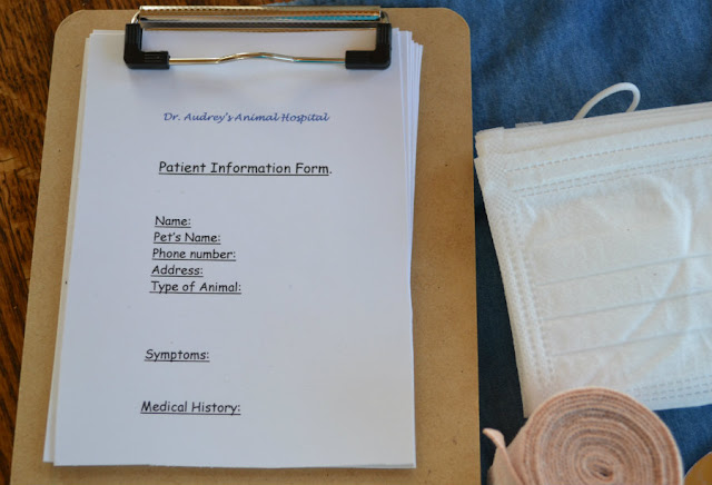 """01c9ee093 I purchased a small clip board at Wal Mart for $1.00. I made up some """"  Patient information"""" forms. Every veterinarian office needs to keep up with  their ..."""