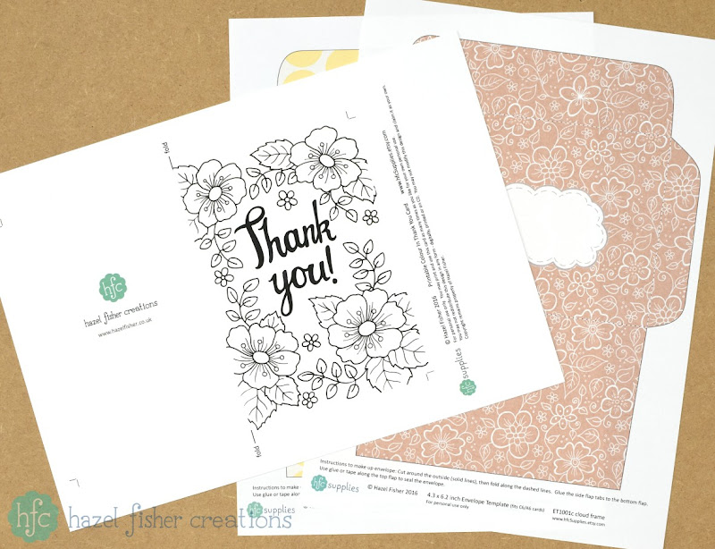 Printable thank you card and envelopes - hazel fisher creations