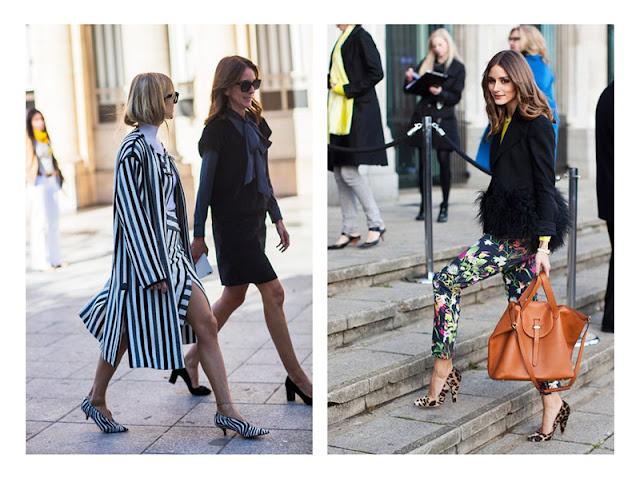 Сочетание обуви с анималистическим принтом с пальто в полоску и с брюками в цветочек