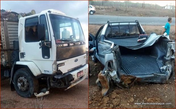 Acidente entre carro de passeio e caminhão na PE-160, deixa dois feridos