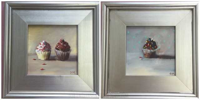 cupcake paintings by debbie miller, chocolate cupcake painting