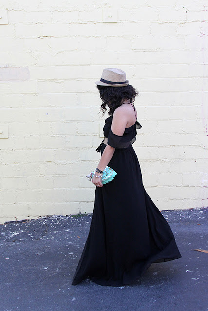 Black Rhythm Cold Shoulder Maxi Dress Summer Vacation Outfit   Will Bake for Shoes
