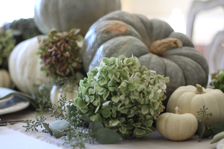 neutral fall tablescape with green pumpkins and hydrangeas gorgeous
