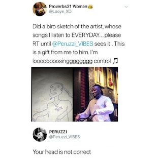 DMW Peruzzi blasted a Fan who did a Biro Sketch of him on twitter like Kevin Hart