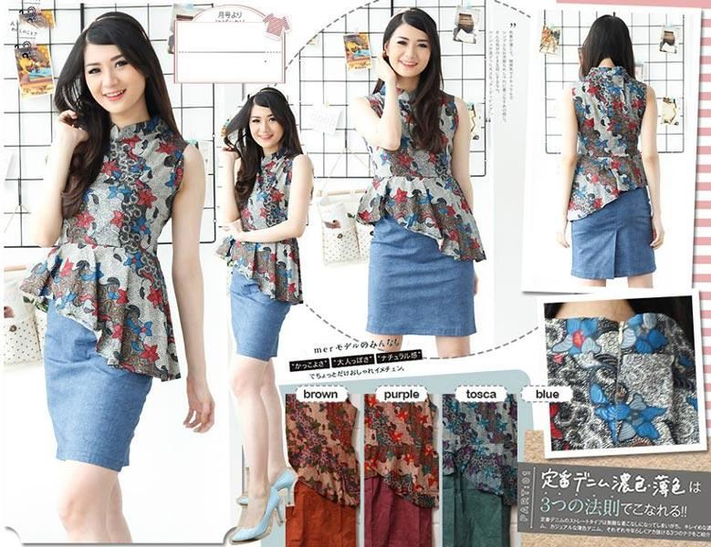 Jual Baju Batik Deyna Shanghai Neck Dress - 12738