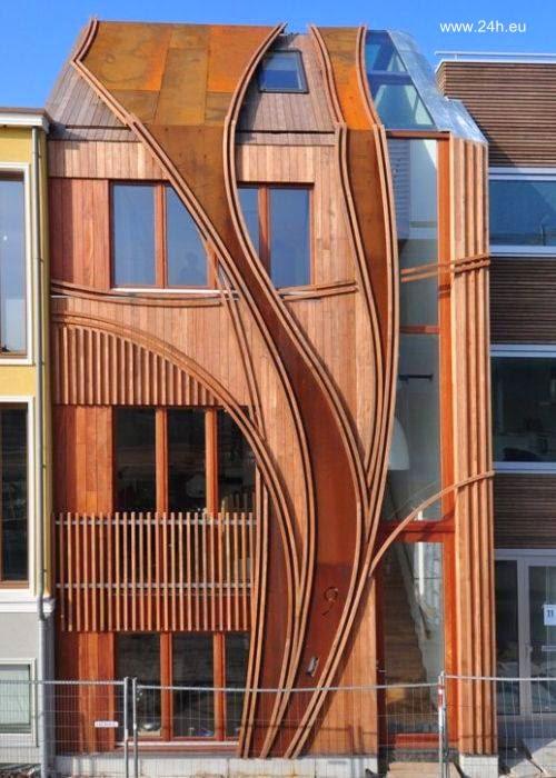 Fachada de madera con diseño orgánico en Leyden, Holanda