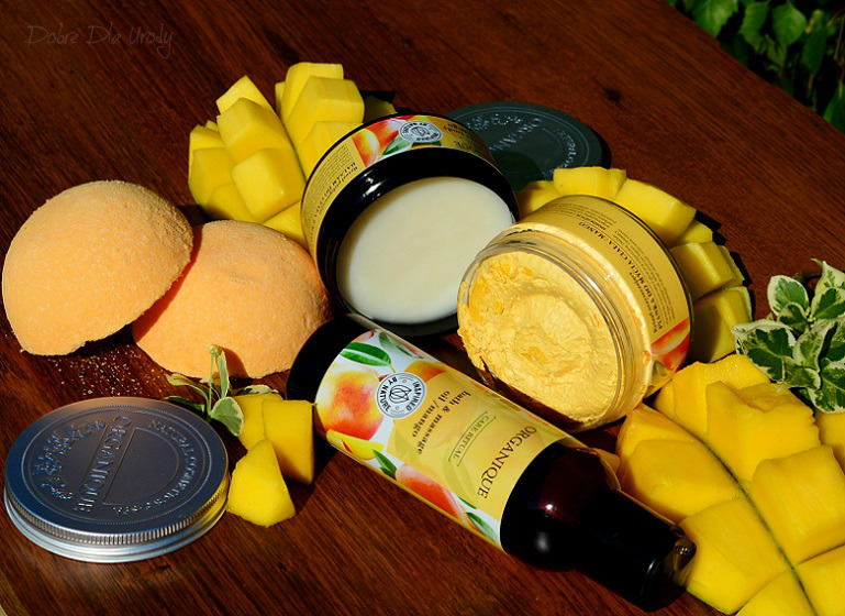 Rytuał Organique o zapachu słodkiego mango - kula do kąpieli, pianka myjąca, balsam do ciała i olej do masażu