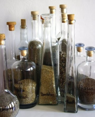 beach sand collection in bottles