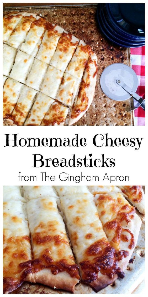 These cheesy bread sticks are a delicious appetizer or side dish to serve alongside a yummy salad or big bowl of soup.  However, most often I serve them as an addition to our Friday night pizza night!  They are the first to be cleaned up, as these cheesy bread sticks are one of my families favorite recipes.  Warm, cheesy with just a touch of garlic.   What's not to love?  Start with a good homemade dough recipe like this on